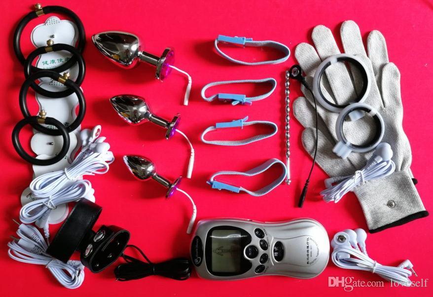 Электрический Шок Терапия комплект связывание БДСМ передач уретры вилка соска клипы анальный вагинальный фаллоимитатор перчатки член кольцо купирования секс-игрушки