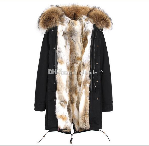 2019 JAZZEVAR Brand Winter Snow Jackets Brown Fur Trim Brown Grass Rabbit Fur Lining Long Army Green Canvas Parka Germany Norway From Qltrade_2,