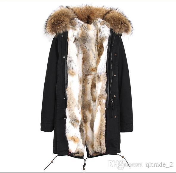 Jazzevar 100% реальный мех кролика Женщины снег куртки серый белый Grass мех кролика подкладка черный длинный утепленная Германия Норвегия
