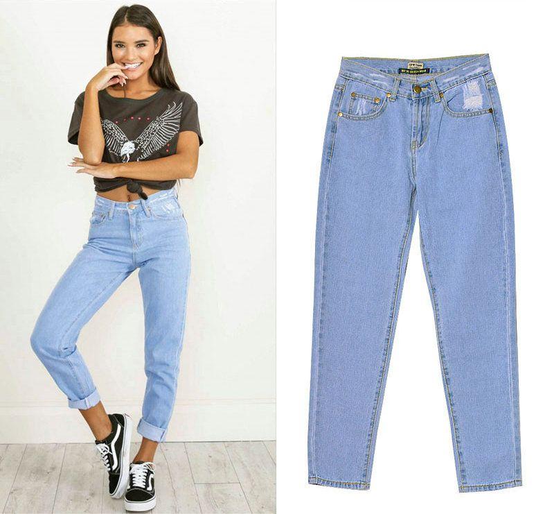 Compre Moda Casual Jeans Womens Plus Size Cintura Alta Washed Light Blue True Denim Pantalones Sueltos Novio Jean Femme Para Mujeres Jeans De Pierna Recta A 16 72 Del Sherry168 Dhgate Com