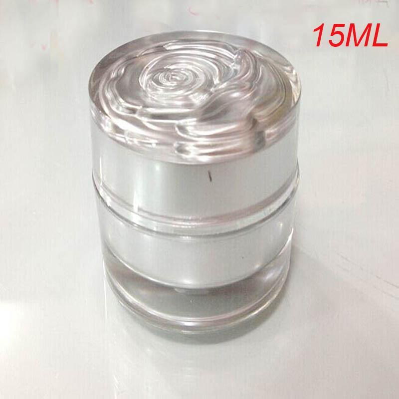 Récipient cosmétique de bouteille d'argent de 15ml, pot de crème de 15g avec le pot cosmétique de pot de fleur, récipient cosmétique de cosmétique d'emballage en plastique