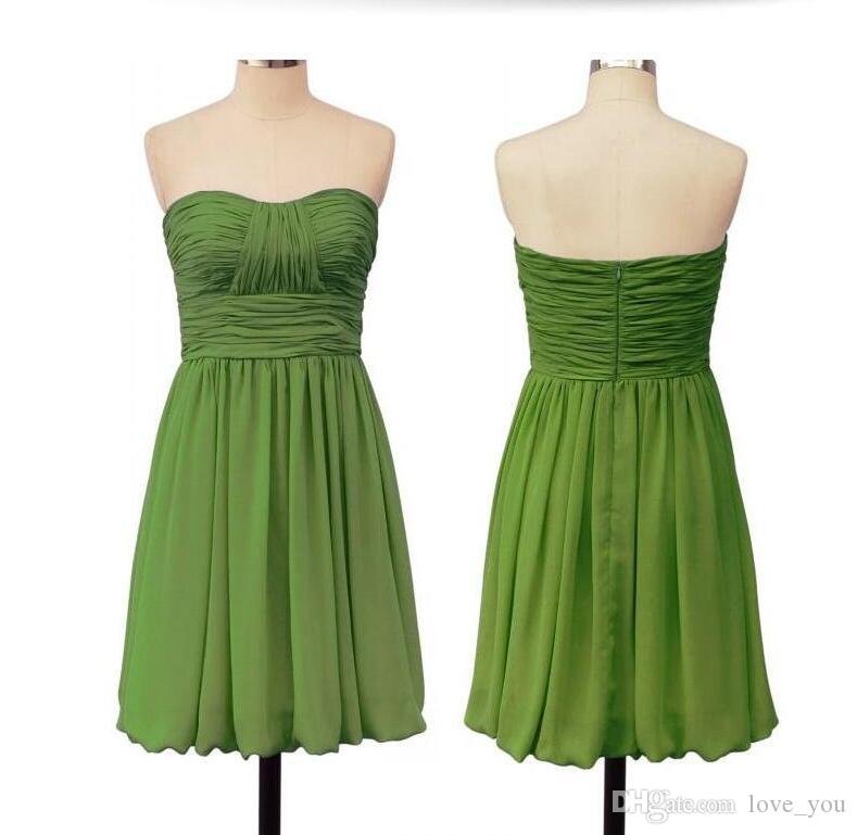 Curto dama de honra vestidos barato chiffon grama querida comprimento elegante vestido de festa de casamento feito sob encomenda feito corpete ruched