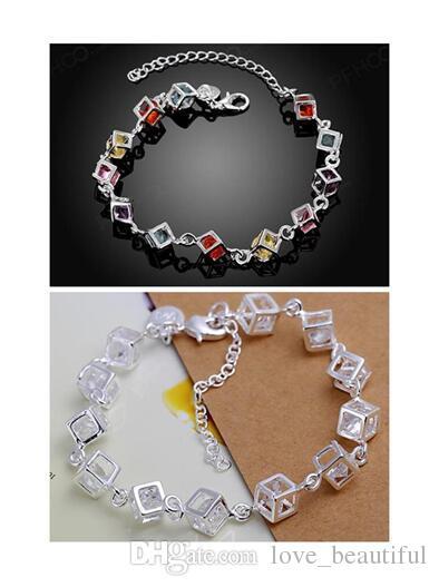 Niedrige Preis-Förderung! Markieren Sie 925 Mädchen / Madam bunte Steine weißes Edelsteinarmbandcharme-Armband 925 Sterlingsilber-Schmucksachen 10pcs / lot
