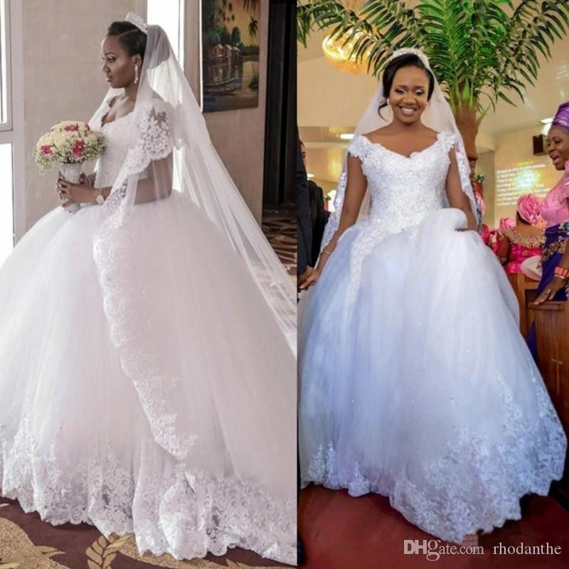 2017 Arabic South African Vintage Cap Sleeves Wedding Dresses Ball ...
