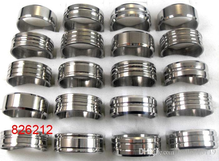 Lotes Bulk 100 Pcs Silver Design Mix Homens Mulheres Mulheres Aço Inoxidável Anéis de Qualidade de Moda Anéis de Bandas Atacado Jóias Lotes