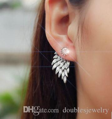 European and American foreign trade retro angel wings feather diamond earrings earrings solid alloy ear jewelry factory direct puncture