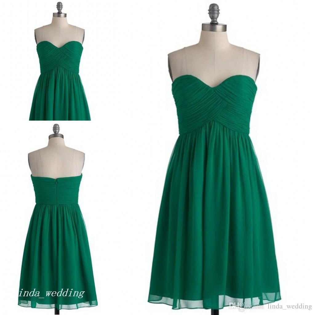 großhandel kurzer smaragd grüner brautjungfer kleid einfaches schatz  chiffon haustern von ehrenkleid für hochzeits party kleid von  linda_wedding,