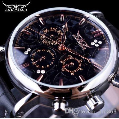Jaragar Obscure Swirl Fashion 3 Cadran Design Diamant Noir Cadran Or Véritable En Cuir Hommes Montre Top Marque De Luxe Automatique Montre