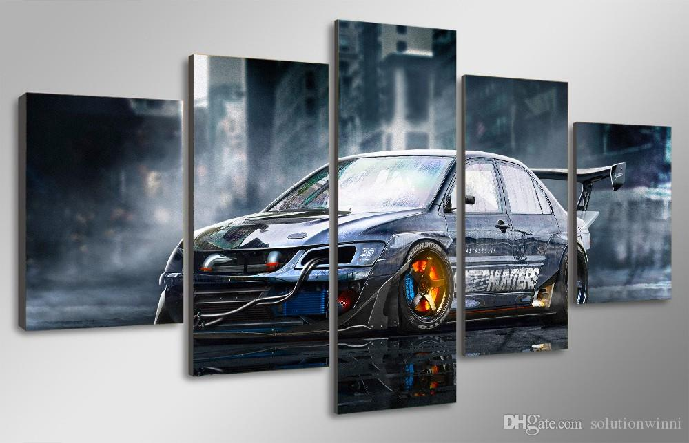 5 Pcs voiture modifiée Imprimé HD Peinture photo de l'affiche d'impression décor de la pièce en toile Impression sur toile art toile noir et blanc
