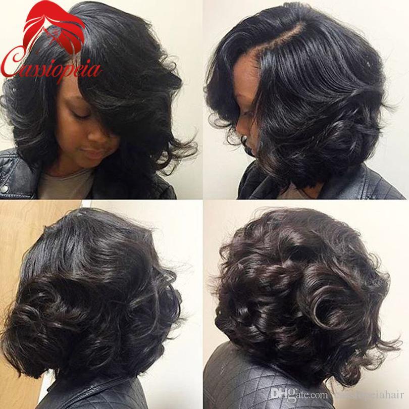 Short Wave Bob Lace Wigs with Bangs Glueless Brazilian Human Hair Bob Full Lace Front Wigs For Black Women Glueless Bob Wig