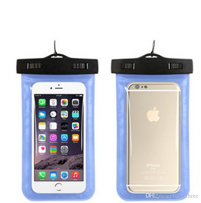 Universal For iphone 7 6s plus samsung PVC Waterproof Case bag phone Dry Pouch for smart phone up to 5.8 inch