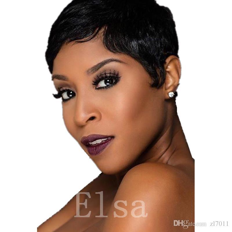 Human Hair Lacewigs Rihanna Style Short Cut Glueless Cap 1B# Brazilian Remy Machine Made Wig For Black Women In Stock Fast Shipping