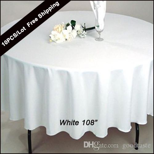 10PC / حزمة 108 بوصة جولة الزفاف الجدول القماش بوليستر 100٪ سلس الأبيض رخيصة مفارش المائدة جاهزة المنزل الجدول القماش لحدث زفاف ديكور