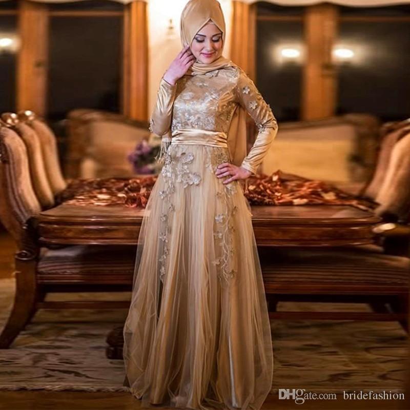 Длинные рукава с высокой горловиной и кружевами Мусульманские тюли вуаль длиной до пола, вечерние платья, гостевая вечерняя одежда, выпускные платья, вечерние вечерние платья