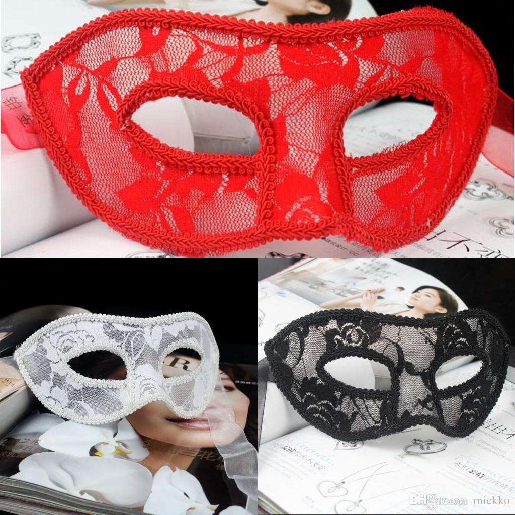 Kadınlar Seksi Saydam Dantel Masquerade Maskeleri sevgililer Günü Cadılar Bayramı Yarım Yüz Maskeleri Bayanlar Parti Performans Gösteri Bez Yüz Maskeleri