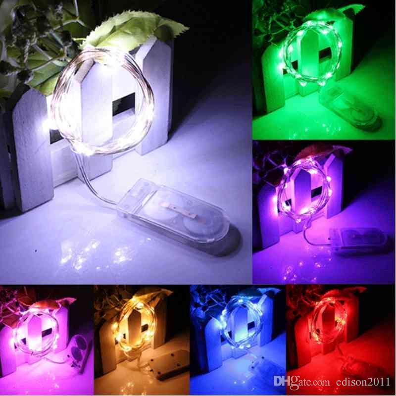 CR2032 Düğme Pil Çalıştırılmış 20leds Bakır Tel Işıklar Noel Işık Festivali için 2M String Işıklar Düğün Party Veya Ev Dekorasyon Lambası