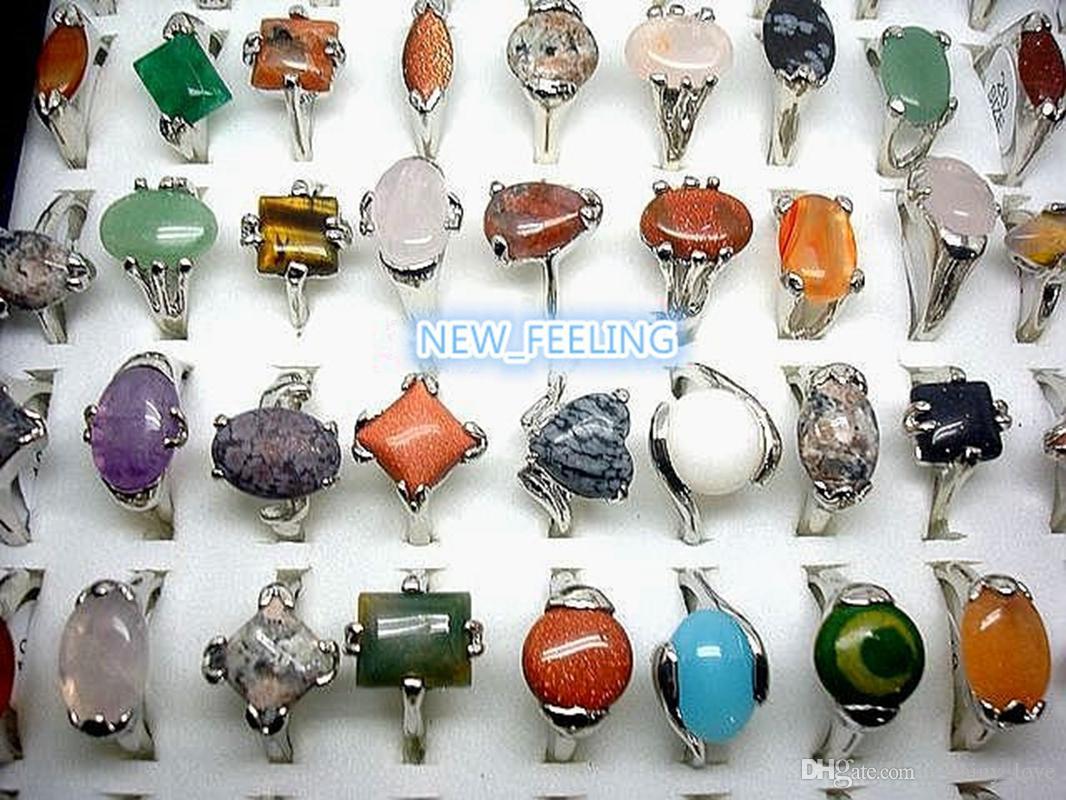 도매 대량 30pcs / lot 모듬 된 천연 스톤 반지 여성을위한 멀티 디자인 혼합 크기 패션 쥬얼리 반지