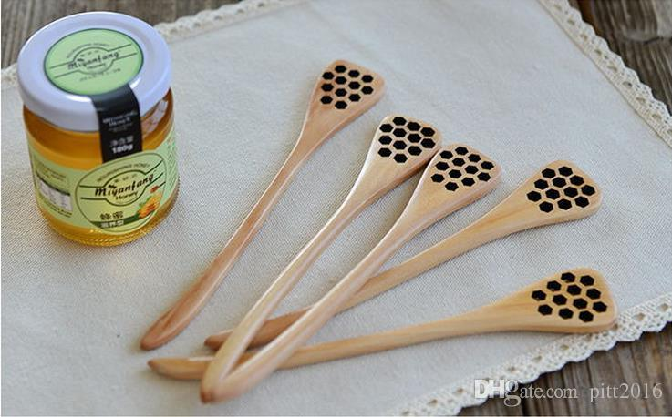 Cute Wood Creative Carving Honey Stirring Honey Spoons Honeycomb Carved Honey Dipper Kitchen Tool Flatware Accessory