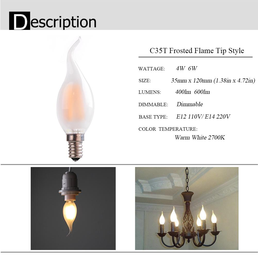 4w 6wretro led filament bulbc35t frosted flame tipe12 e14 base item typeled filament bulbs 360 light pattern similar look and feel to incandescent light 30000 hour life mercury free no hum no flicker and no uv aloadofball Gallery