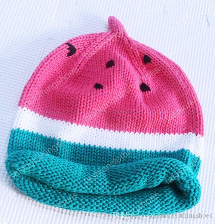 encantadora linda de sombrero del ganchillo Nueva Sandía bebé hechos punto Beanie sombrero recién nacido fotografía apoya los sombreros de los cabritos linda otoño invierno recién nacido sombrero