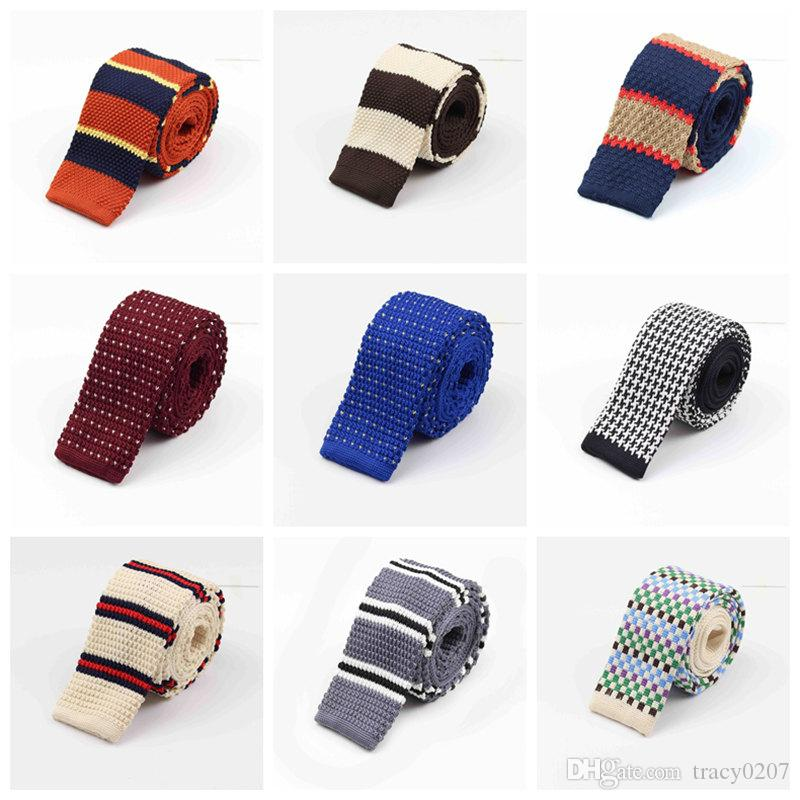 2016 NEW 15pcs/lot Men Knitting Neck Ties Knots tie Men's casual Solid kintted polyester Silk Narrow Design Flat-end Necktie Neck Ties