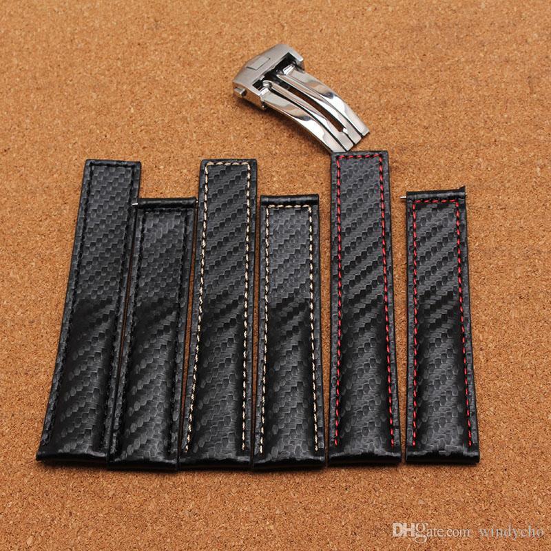 Nueva Pulsera Especial Negra Hecha a mano Con Rojo Negro Línea blanca cosida Cuero genuino patrón de correa de fibra de carbono reloj accesorios