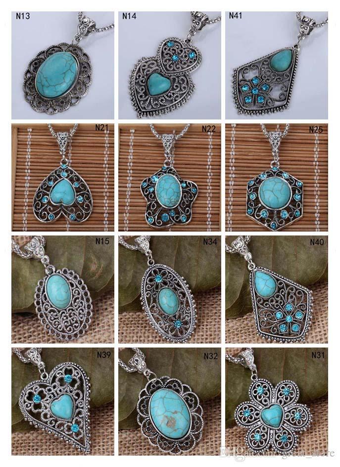 Collana turchese in argento tibetano cavo (con catena) 12 pezzi molto misto stile, moda donna fai da te perline europee collana ciondolo GTTQN2