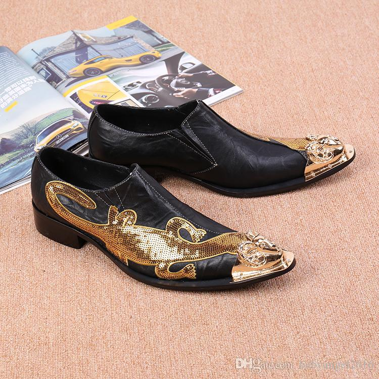 Mode Italienischen Stil Männer Kleid Hochzeit Schuhe Spitz Männlichen Slip-on Metallspitze Wohnungen Schuhe EU Größe 46