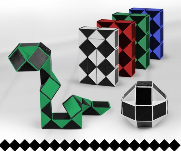 7 가지의 색깔 24의 부품 마술 통치자 유효하게하는 아이 아이 Twist 구획 장난감 마술 뱀 모양 완구 큐브 교육적인 빌딩 블록