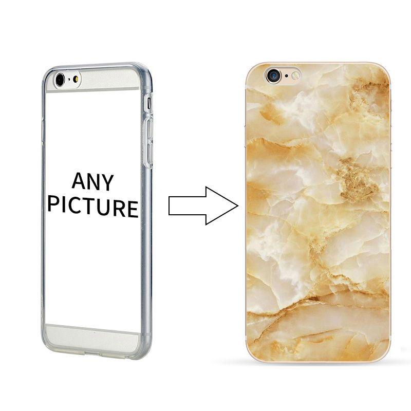 Atacado personalizar 2d telefone shell padrão de mármore phone case para iphone 7 7 plus tpu transparente phone case capa
