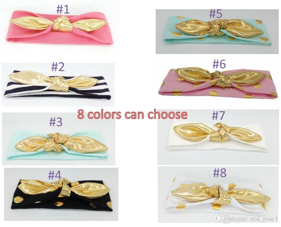 2021 New Cotton Baby Headband Girls Gold Knotted Jersey Knit Headwraps Golden Rabbit Hairband for Newborn Infant Hair Accessories