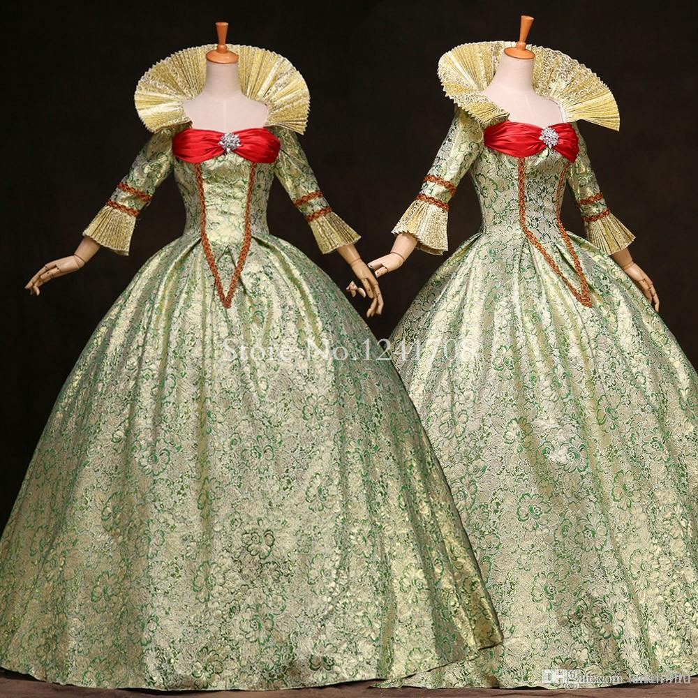 großhandel hochwertiger grüner druck marie antoinette kleid 17. jahrhundert  königin viktorianische ballkleider kostüme mittelalterliches kleid der