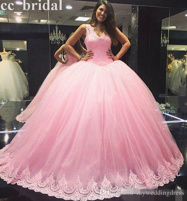 Cute Baby Pink Applique Lace Ball Gowns Quinceanera Dresses For 15 ...
