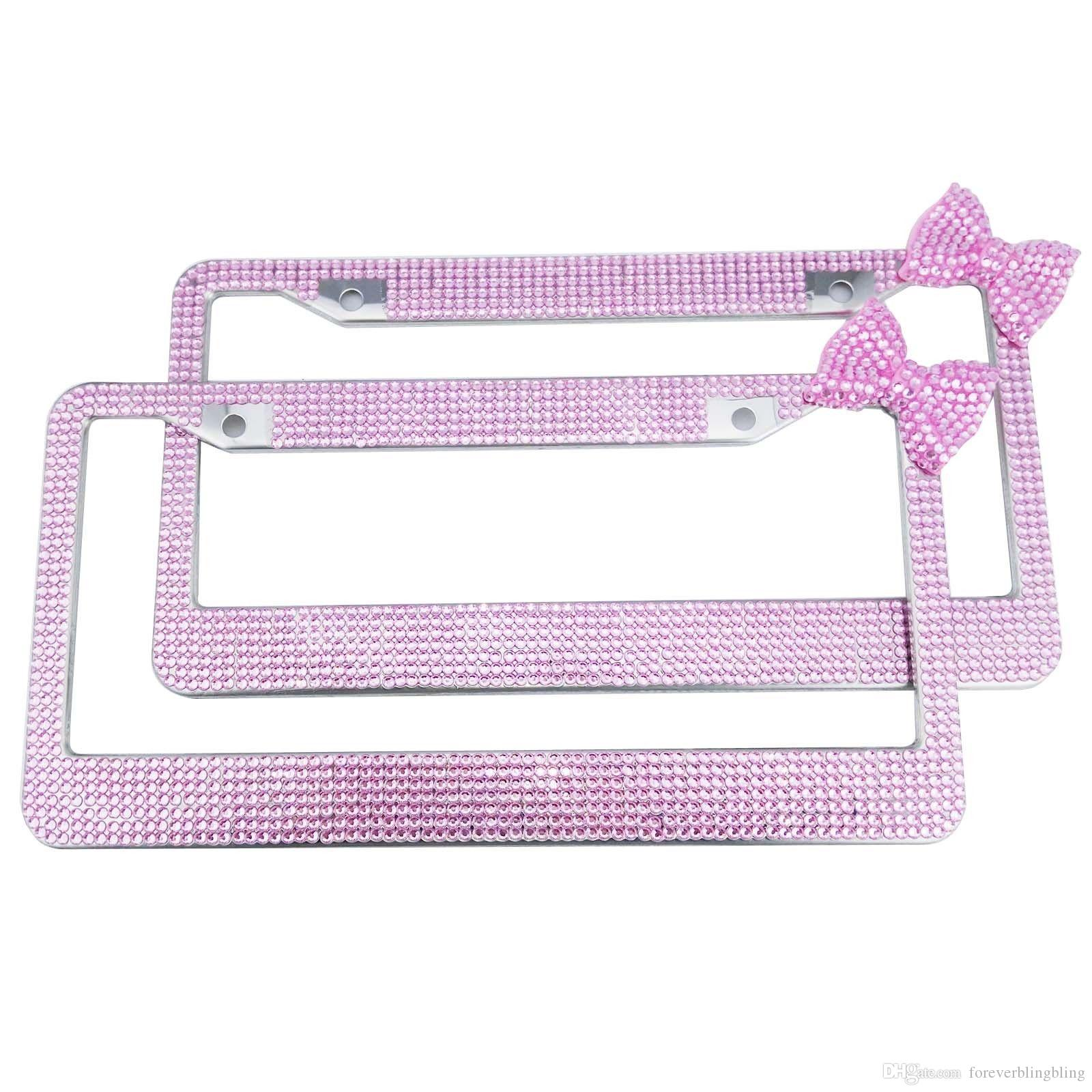 2018 2016 Wholesale Solid Pink Bow Crystal License Plate Frame,Bling ...