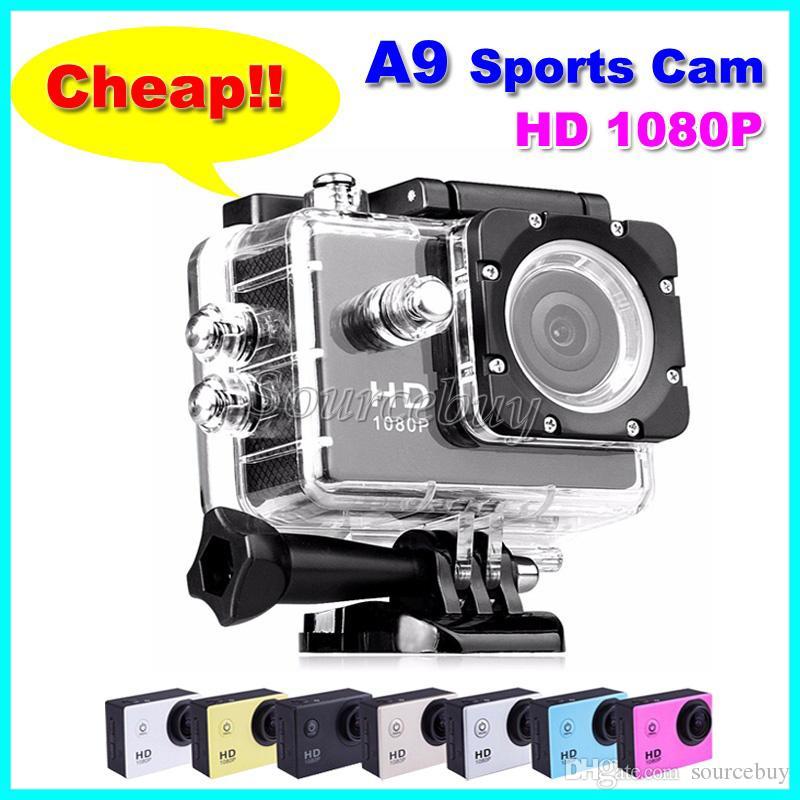 """HD 1080P 방수 스포츠 카메라 A9 싼 1 개 다이빙 30M 2 """"액션 카메라 140 °보기 미니 DV DVR 헬멧 캠코더"""