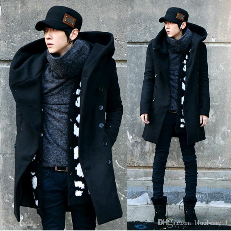 2017 패션 겨울 망 완두 코트가있는 후드 더블 브레스트 긴 모직 트렌치 코트 남성 오버 코트 그레이 블랙 플러스 크기 M-3XL