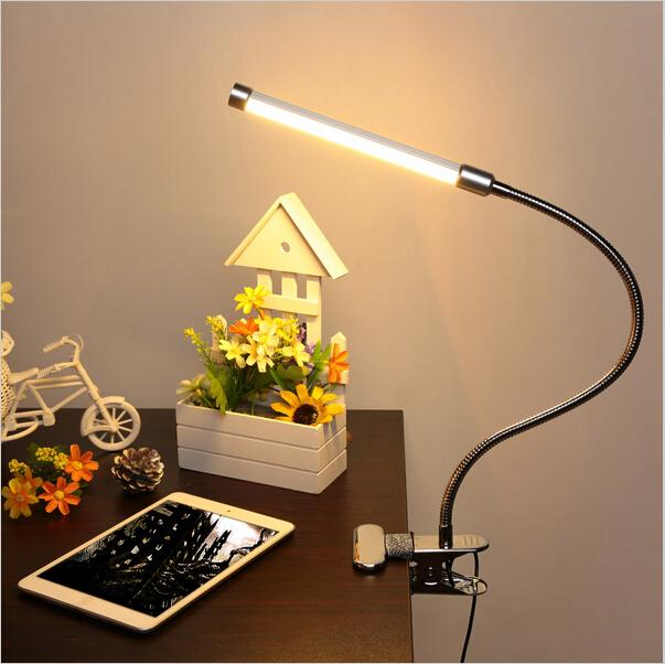 LED Reading Eye Protect with USB Clamp Desk Table Lamp Adjustable Clip-on Flexible Gooesneck Light 6W 18LED for Bed Laptop