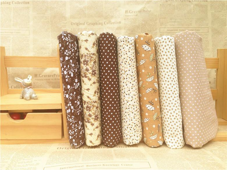 7PCs/set Coffee DIY Patchwork Fabrics For Sewing The Cloth Quilting Cotton Fabric For Needlework Tissue Felt