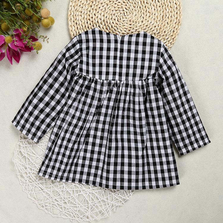 b74e5d4b4c31 ... 2019 Spring fall INS baby girls dress little girl black white plaid  toddler dress Cute high ...