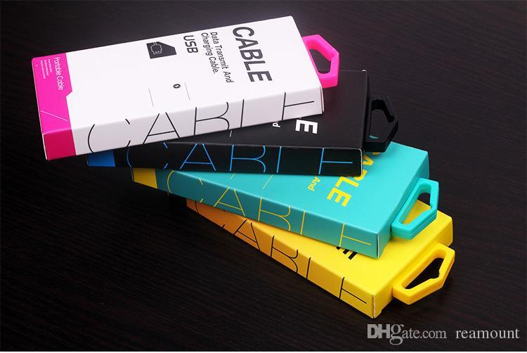 Pacchetto di vendita al dettaglio della carta del nuovo cavo 500pcs per la linea linea del caricatore d'imballaggio del cavo di 1-1.5m USB Trasporto libero del DHL