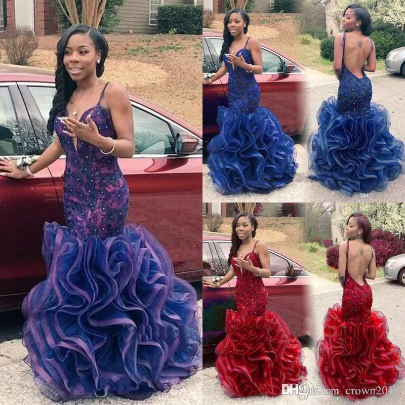 African Mermaid Prom Dresses 2019 Arabic Dubai Sexy Backless Navy Blue Lace Black Girl Red Party Evening Gowns Cheap Ruffles Long Sweet 16