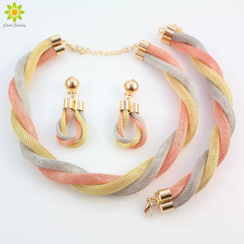 Moda Donna Oro / Argento Placcato Corda Collana Chain Bracciale Orecchini African Indian Dubai Set di gioielli da sposa