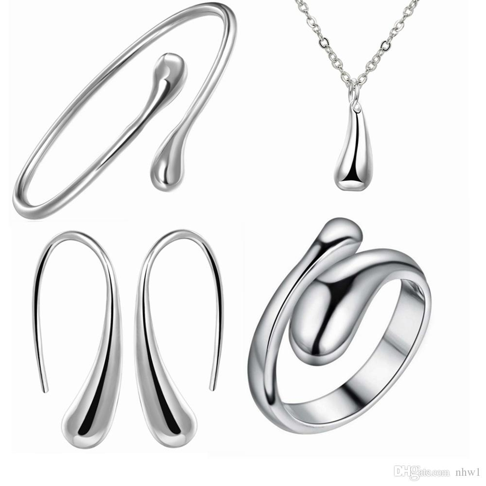 Fashion Wedding Bridal Jewelry Set 925 Stamped Silver Water Drop Bangles+Necklace+Rings+Earrings Sets for Womens Girl Gift