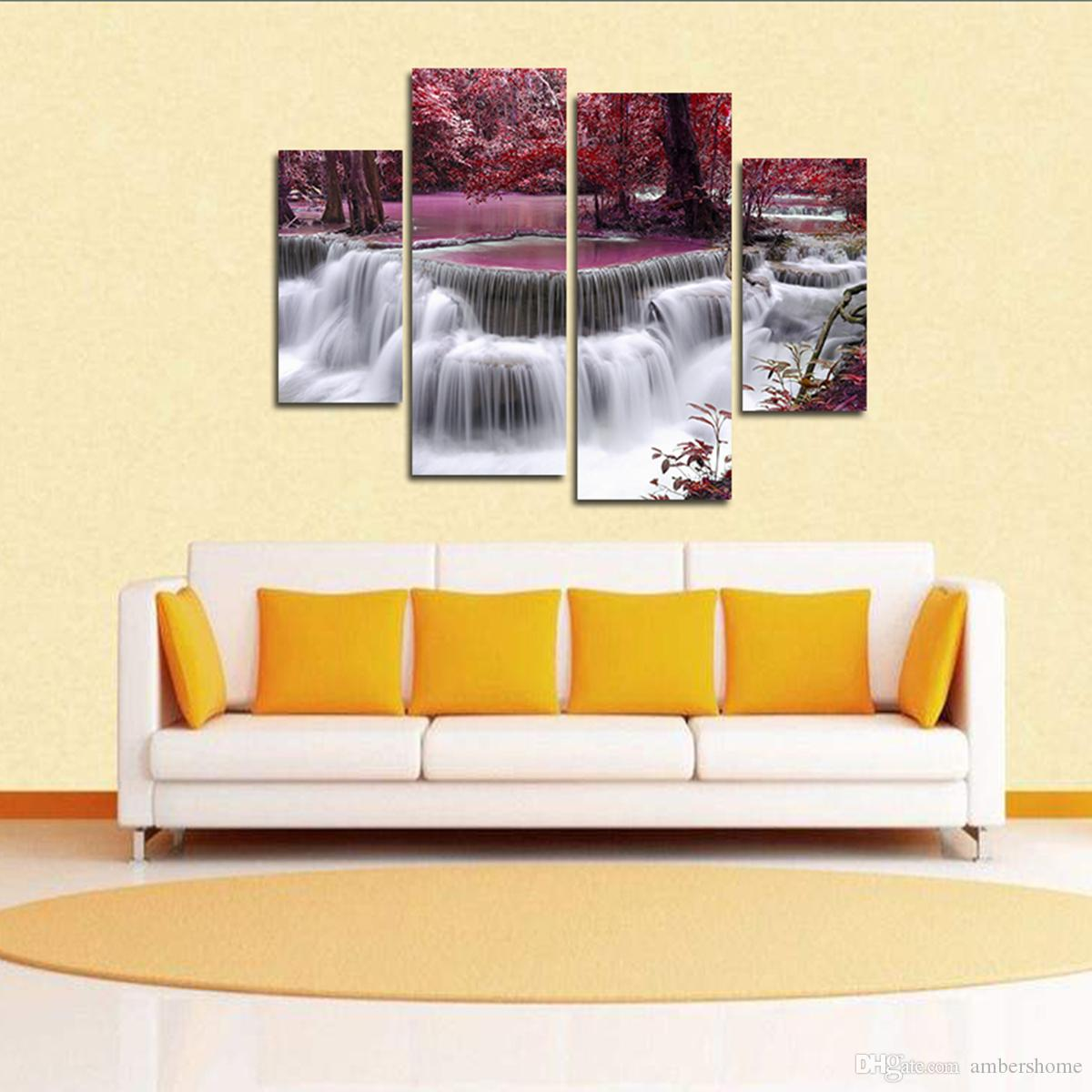 2018 Maple Leaf Waterfall Hand Painted Painting Canvas Art ...