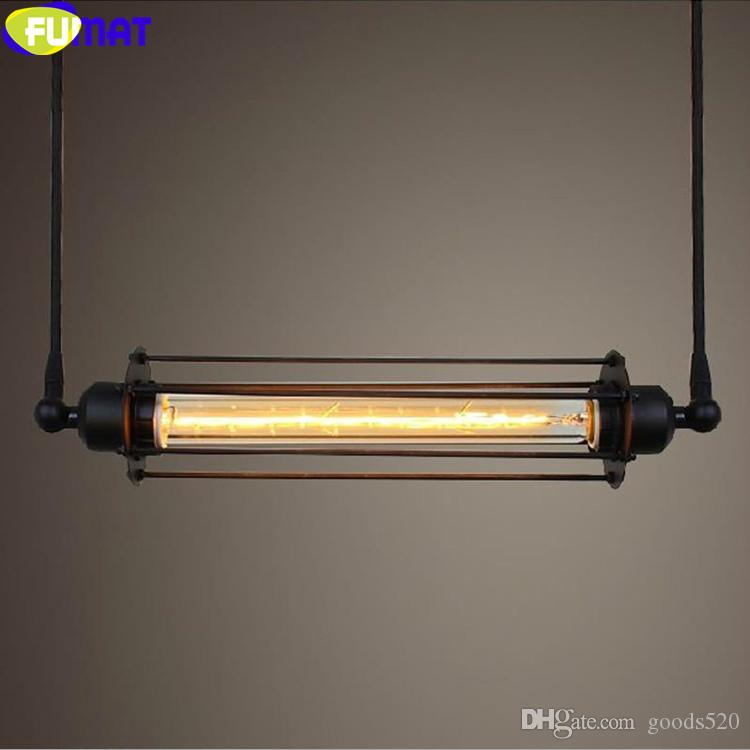 FUMAT American Country Vintage Pendant Lights Industrial Bar Light Fixture European Iron Alcatraz Island Pendant Lamp