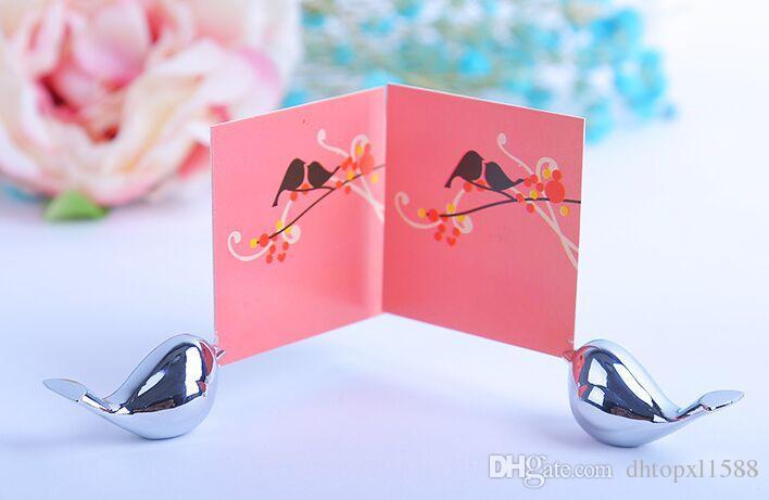 Nuovo metallo amore uccello posto titolare della carta wedding party decorazioni per la tavola nuziale baby shower battesimo favore regalo di compleanno souvenir
