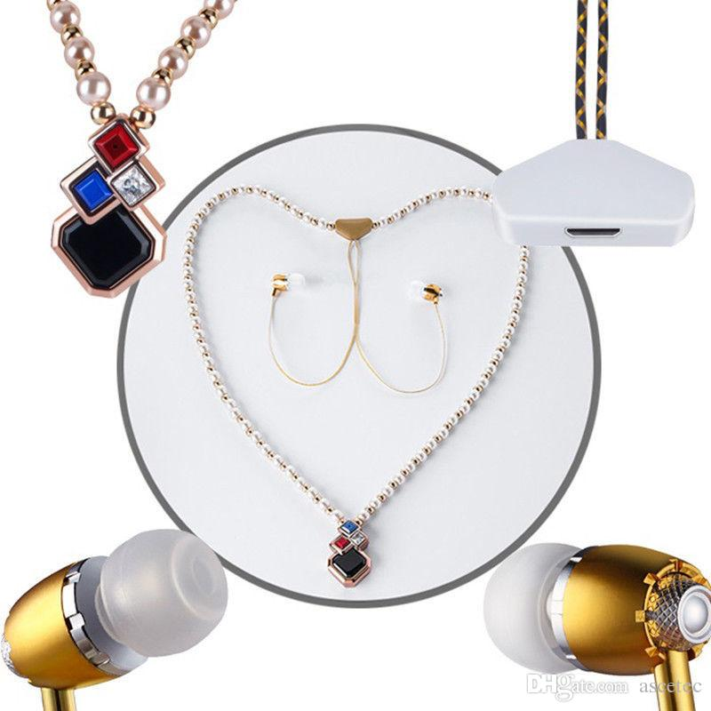 Necklace Pearl Bluetooth Earphone Running Sport Stereo Headset with Microphone Diamond Diamond Necklace Bluetooth In-ear Handfree headphone