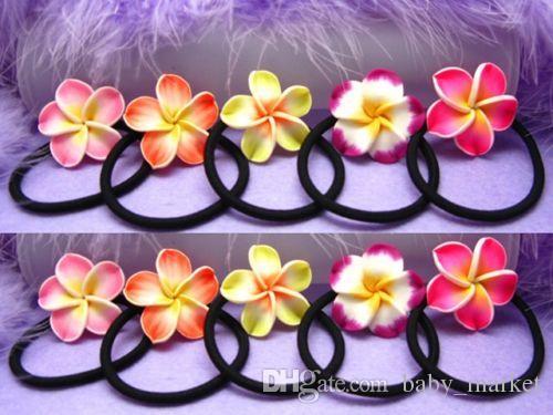 新しい卸売フランジパニの髪のバンド泡ハワイアンプルメリアの花のヘッドバンドの弾性バンドの髪ロープガールヘアアクセサリー80pcs /