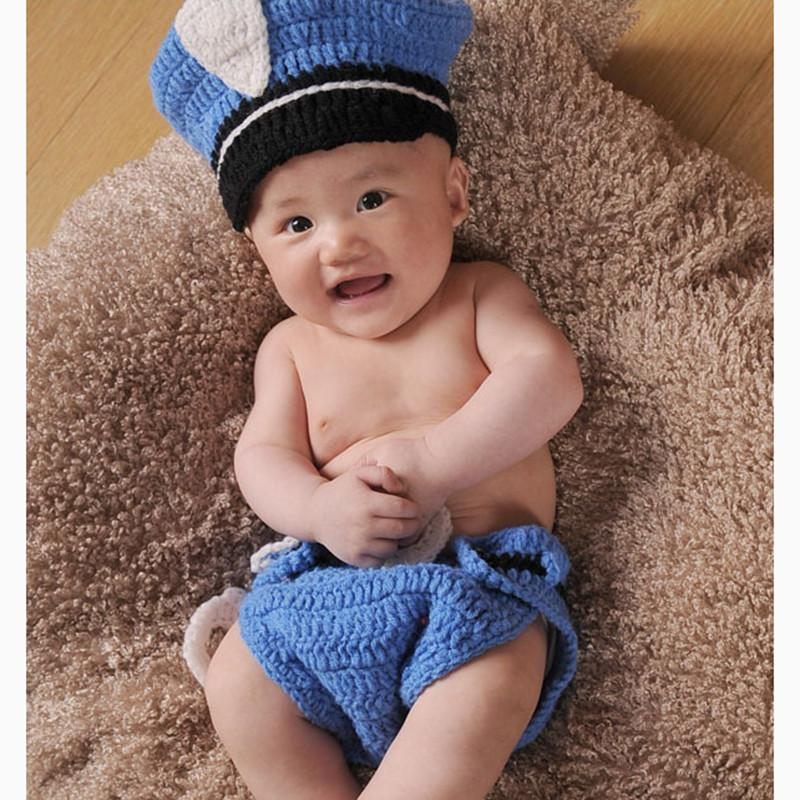 2016New Born Photography Props Baby Boys Cotton Thread PoliceMan Crochet Knitted Costume Outfit Winter Hat OnThe Boy New Arrival (2)