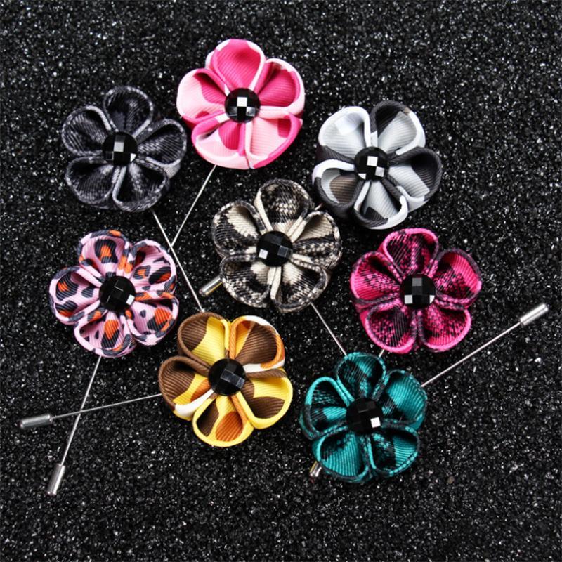 13 цвет новая мода мужчины брошь цветок отворотом pin 4 см костюм бутоньерка ткань пряжа pin кнопка Stick Leopard броши для свадьбы